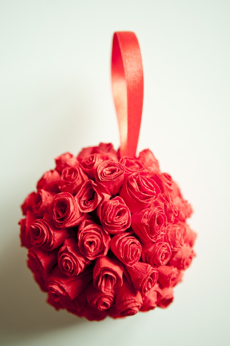 My DIY Hanging Flower Ball: Made with styrofoam balls, crepe paper and a hot