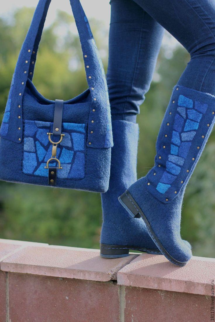 """Купить Валяные сапожки и сумка """"Синие витражи"""" - тёмно-синий, синий, ночь, синие…"""