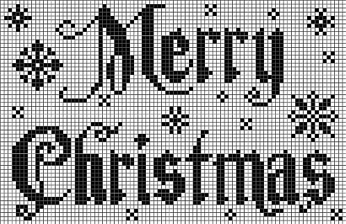 Free MERRY CHRISTMAS pattern - I would do this on a cream background with a red thread