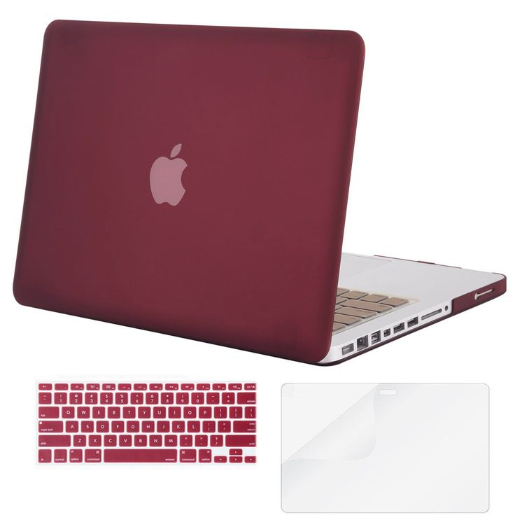 Mosiso Plastic Hard Case with Keyboard Cover with Screen Protector Only for Old MacBook Pro 13 Inch with CD-ROM (Model: A1278, Version Early 2012/2011/2010/2009/2008), Marsala Red