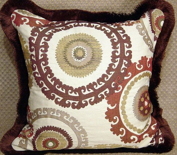 Designer Decorative Suzani Throw Pillows Cushions 2 Red, Brown, Green On  Cream Geometric StuNNinG By Cabin Cove Creations