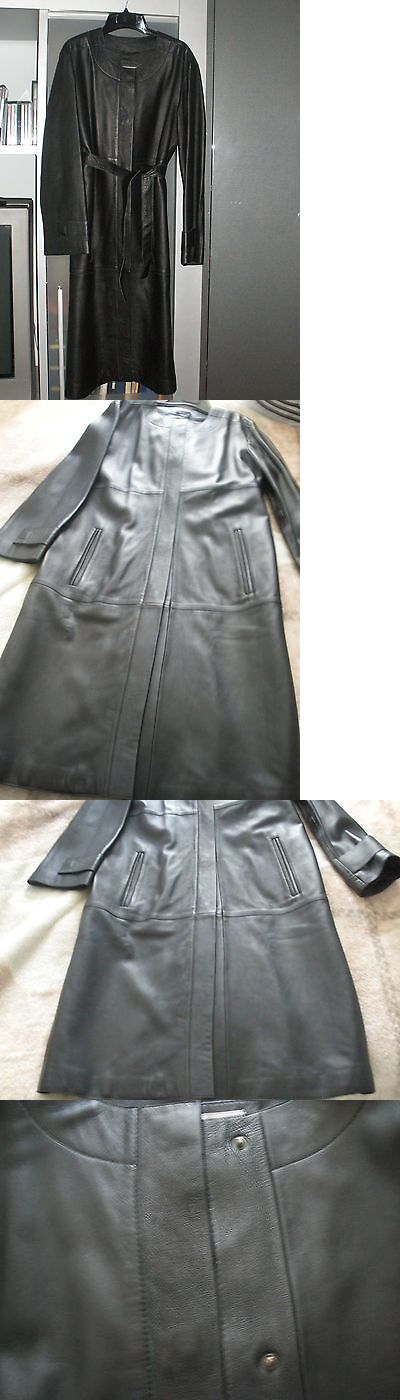 Women Coats And Jackets: Womens Marks And Spencer / M And S Black Leather Jacket Long Coat Sz Uk 14 -> BUY IT NOW ONLY: $108.99 on eBay!
