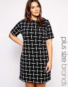 Enlarge New Look Inspire Mono Check Tunic Dress