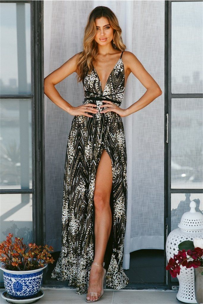 3e423f91bfae Glitter Glitz Black and Gold Open Back Maxi Dress in 2019 | Want ...