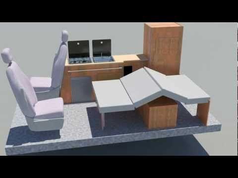 Denby Balmoral Camper Conversion Layout shown in a VW Volkswagen Transporter Campervan - YouTube