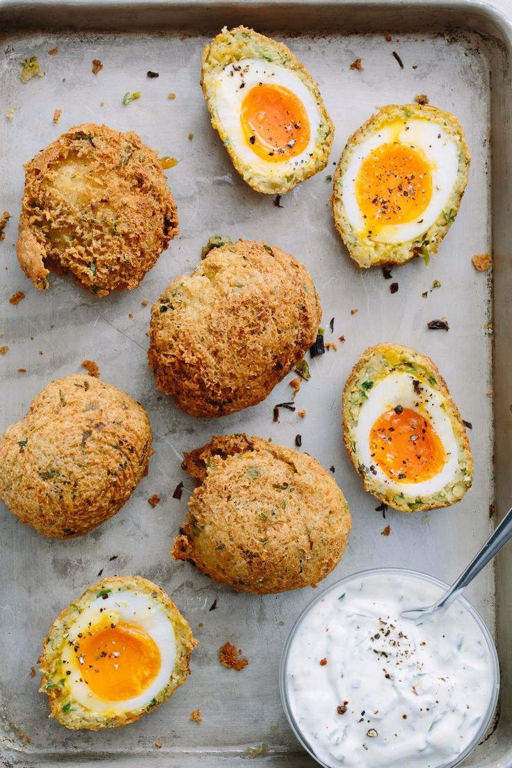 How to Make Falafel Scotch Eggs. This somewhat healthy twist on the classic recipe is perfect for brunch! Great if you're looking for ideas for deep fryer recipes for appetizers. These new-wave Scotch eggs are crispy, herby spiced chickpeas covering creamy boiled eggs, begging to be dipped in a lemony yogurt sauce.