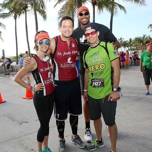 Star Tracks: Monday, April 20, 2015 | TEAM TRIATHLON | Abigail Spencer, Josh Hopkins, Jason Collins and James Marsden take a quick (sweaty) pic at the Life Time South Beach Triathlon in Miami Beach on Sunday.