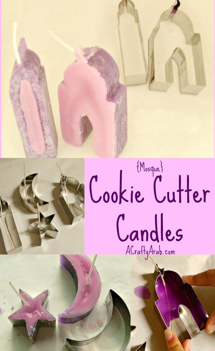 A Crafty Arab Cookie Cutter Candles. We love using cookie cutters to make crafts.   Recently I was paid a visit by With a Spin, who left me with her beautiful Islamic cookie cutters.  They are in the shape of the crescent moon, star, mosque and minaret.   We used the moon and star in our Quilled Moon and Star Tutorial, …