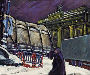 """""""Brandenburger Tor und Eventzelt"""", 2007, Eitempera/ Lw., 100 x 120 cm. Hans Stein Berlin - Stadt als Baustelle Gemälde und Grafiken von 1957 bis 2015. Dauer: 6.11.2015 bis 28.3.2016."""