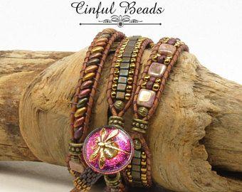TRIPLE LEATHER WRAP Bracelet-Boho Leather Wrap-Superduo Leather Wrap-Boho Wrap-Bohemian Bracelet-Hippie Bracelet-Wrap Bracelet-(TW28A)