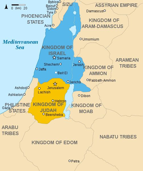 C1 W3 Hebrew Empire - Dead Sea, Jordan River, Sea of Galilee pictured but not labeled File:Kingdoms of Israel and Judah map 830.svg