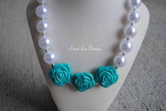 Turquoise Flowers and Pearl Bubblegum Necklace Toddler Jewelry Photo Prop Toddler Necklace READY TO SHIP