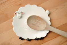 White sheep spoon rest or trinket dish by PotsWithPersonality