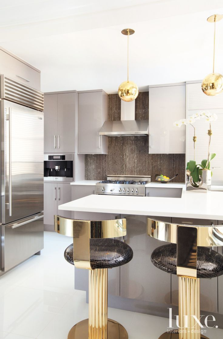 Modern Kitchen with Gold Accents