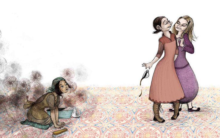 Había una vez una muchacha, a la que llamaban Cenicienta, que tenía una madrastra malvada. Perrault en 'Cuentos clásicos para leer y contar', de Anaya, con una original visión de Noemí Villamuza.