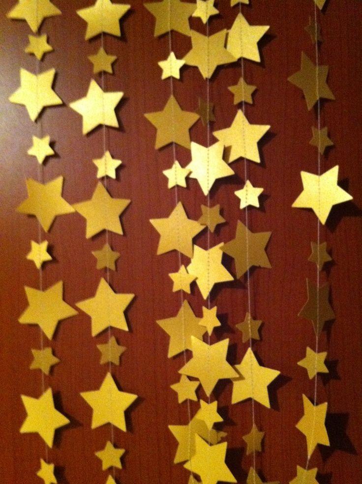 14 feet golden bunting, garland, gold, star, wedding , decoration . $15.00, via Etsy.
