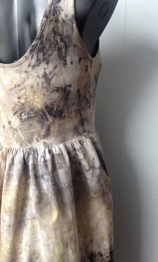Eco dyed upcycled cotton dress by Rita Summers