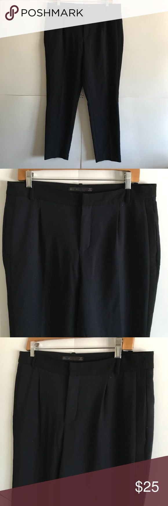ZARA Navy Blue Dress Pants Size Large In great condition! Have pinstripe on the side that comes down halfway. Perfect for the office! Zara Pants Ankle & Cropped