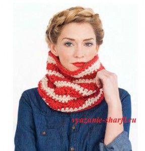 полосатый вязаный шарф воротник крючком