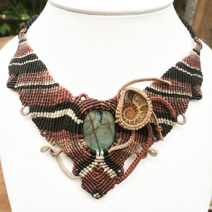 labradorite and ammonite macrame necklace.