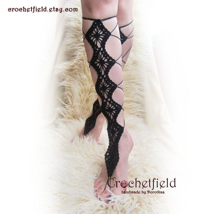 BLACK DIAMONDS crochet lace up barefoot sandals, knee high, gladiator boots, long, lace, beach, pool, leggings, wedding, leg chain, leglet - pinned by pin4etsy.com