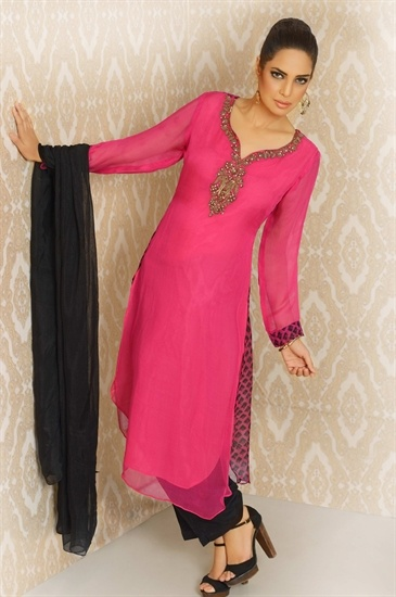 Khushbu, Tooting -  Pink and Black Shalwar Kameez