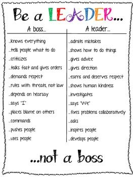 Be a leader, not a boss. (Need to remember this when I meet my next guy so I won't be used and pushed around.)