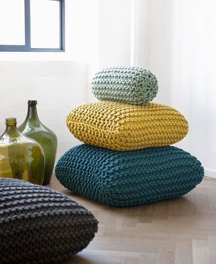 No pattern but some great ideas on poufs (puff?). I like the one on top as I have not seen that one before. These are more square.