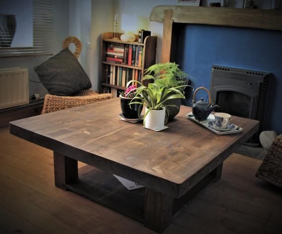 Large Low Coffee Table 100 Cm Square Eco Solid Wooden Slab Top