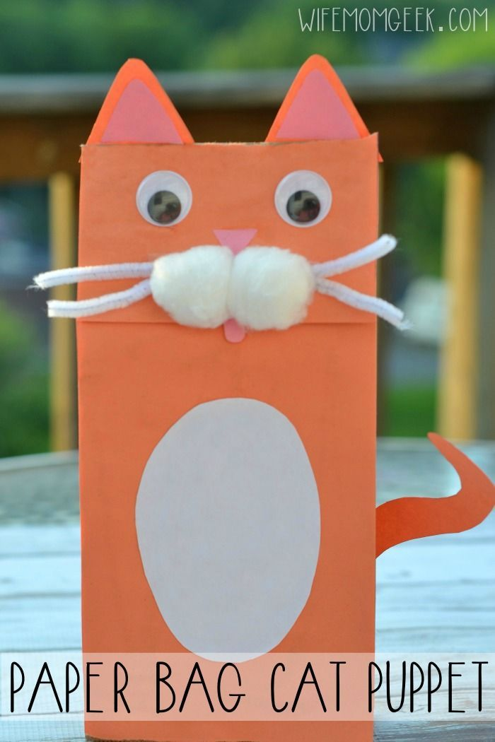This super cute paper bag cat puppet is a great kid craft for back to school and a way to recycle a paper lunch sack.