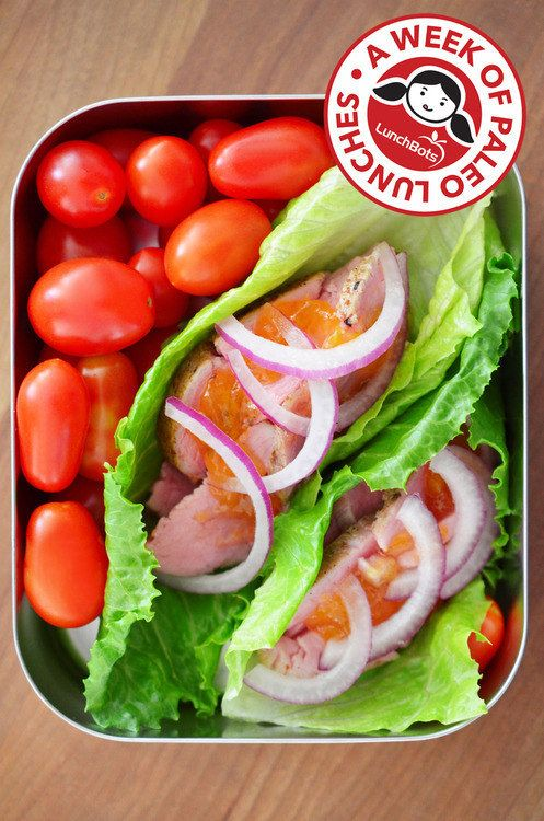 Peachy Pork Lettuce Wraps and Cherry Tomatoes   23 Low-Carb Lunches That Will Actually Fill You Up