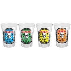 Copo de Tequila Veneno 4 peças - Vaca Design  Você junta os amigos para beber, mas já sabe os efeitos colaterais. Com o conjunto de Shots Veneno, a Vaca Design, uma maiores empresas quando o assunto é criatividade, descreveu o que pode conter nesse copo, e no outro lado, imagens com o que acontece se você pagar pra ver.