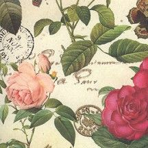 Red and Pink Rose and Butterfly Collage Print Paper ~ Kartos Italy