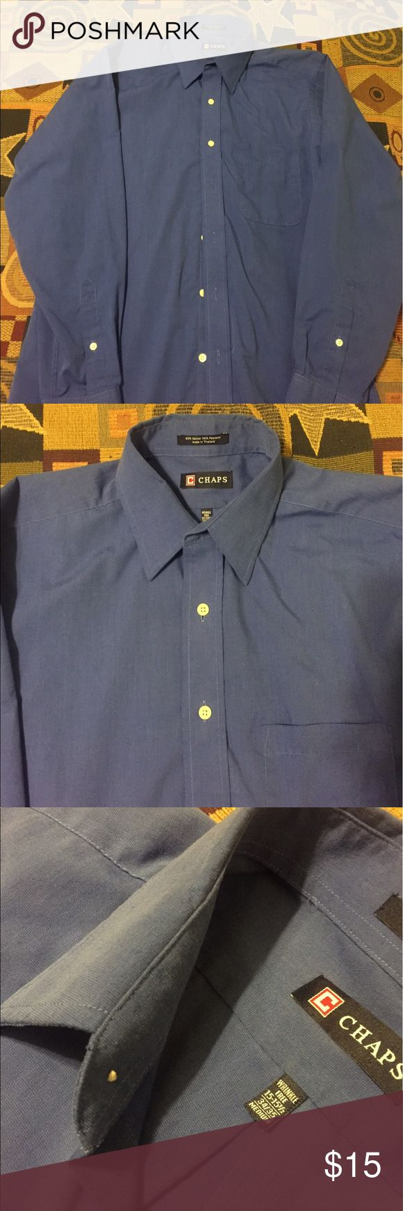 Blue Chaps Button Up Shirt Royal Blue Button Up by Chaps. Shirt is in great Condition, I've only worn it a handful of times. No fading, no rips and all the buttons are still attached. Size 15.5. Open to Offers. Chaps Shirts