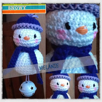 Crochet snowman ornaments with this free pattern.  Scarves in different colors & I could cover my tree!