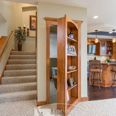 """Love the """"hidden passage"""" entry. Am thinking this would be awesome for a work-out room in the basement!"""