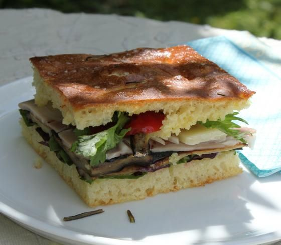 Foccacia sandwich Made with vegan items.