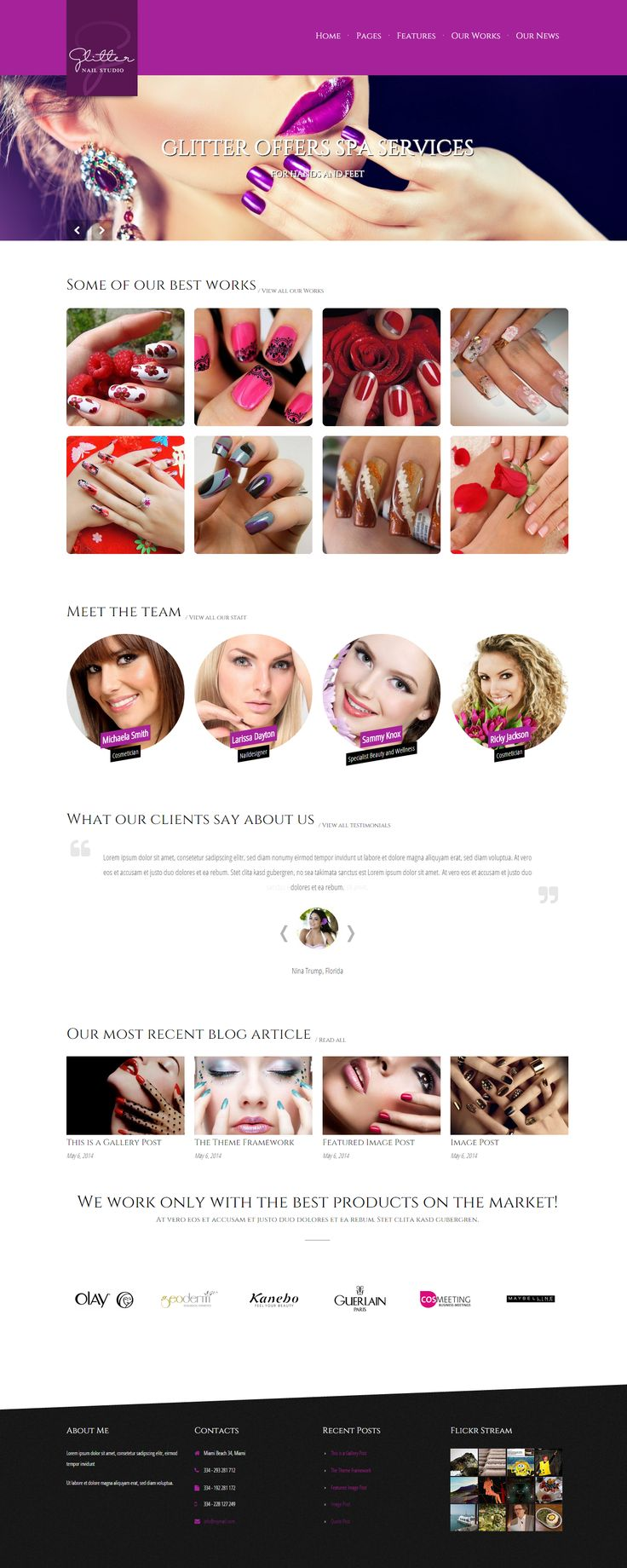New WordPress Beauty theme: Glitter - specially made for Nail Designer and other beauty related companies who need a portfolio and want to showcase their works.  http://7theme.net/downloads/glitter-wordpress-theme-for-nail-salons/