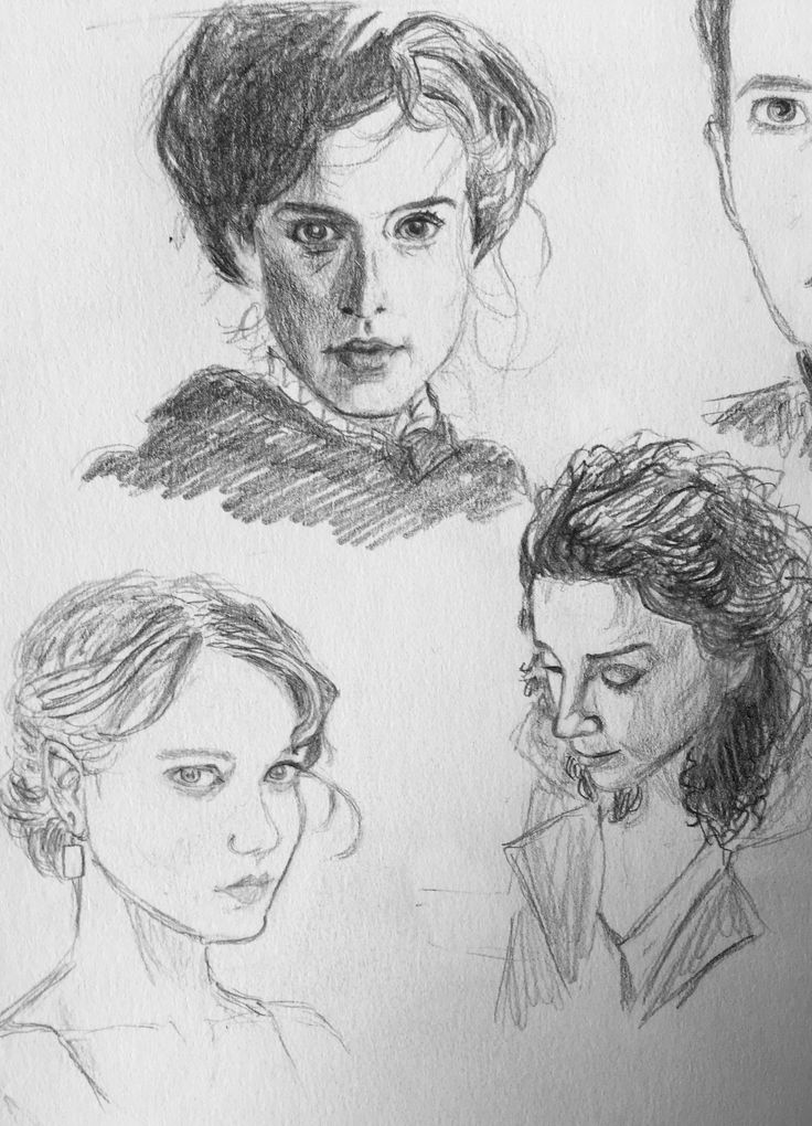 "Learning to draw so ""quick"" & ugly sketching from photos: Aisling Loftus (Agnes Towler), Lea Seydoux and Annie Clark. Anni Vilna"