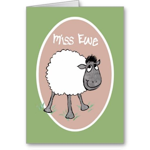 A humorous and romantic 'Miss You' Greeting Card, with a cute sheep and 'Miss You', on a pink background with a green border; from a hand-drawn illustration by Judy Adamson: up to $3.50 - http://www.zazzle.com/cute_sheep_miss_ewe_fun_greeting_card-137874474227970756?rf=238041988035411422&tc=pintw