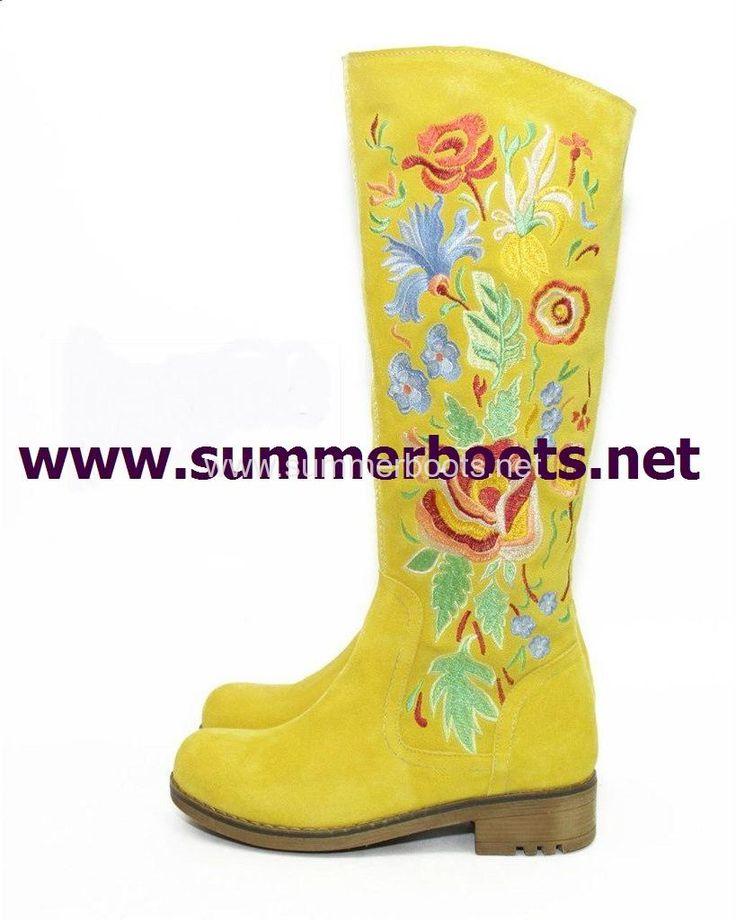 Зимние замшевые сапоги жёлтые с вышивкой и овчиной Женские зимние сапоги на невысоком каблуке. Уникальная вышивка сделает Вас выдел�