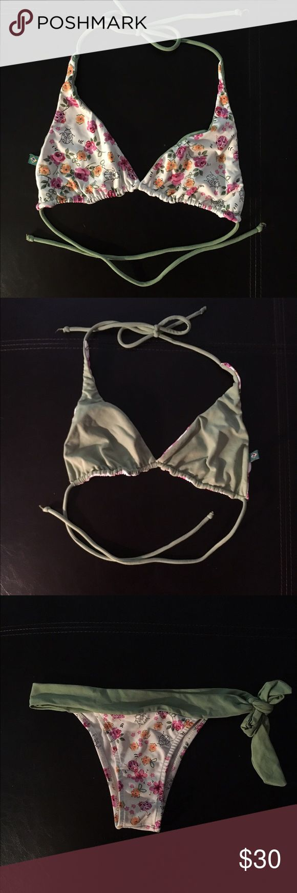 Coral Biquinis Brasil Bikini Practically brand new bikini set. Top is reversible, can be worn as the floral pattern or as the solid green. Bottoms are just the floral pattern. Coral Biquinis Swim Bikinis