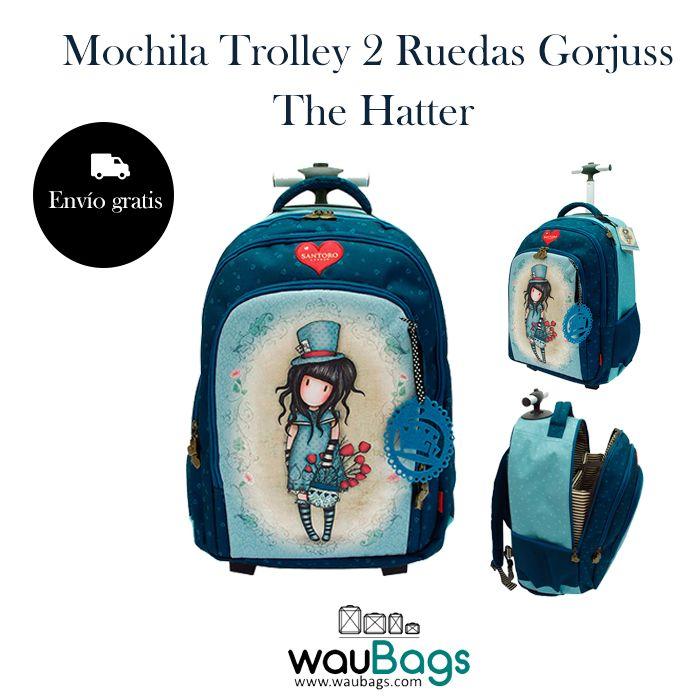 """La Mochila Trolley 2 Ruedas Gorjuss """"The Hatter"""" puede llevarse en la espalda como una mochila gracias a sus dos asas acolchadas, dispone de un compartimento trasero para guardar los tirantes y tambien la puedes usar como un carro gracias a su trolley extensible que permite llevarla cómodamente!  @waubags #gorjuss #santorolondon #mochila #trolley #escolar"""