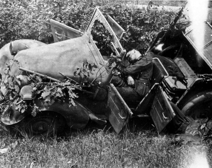 German soldiers killed in the Tatra 57K (Kfz.1 or Kfz.4 – use the command structure of the Wehrmacht) passenger car on the road from Saint Sauveur Le Vicomte, France. German soldiers were killed in an ambush of US paratroopers from the 82nd Division.     Time taken: 1944