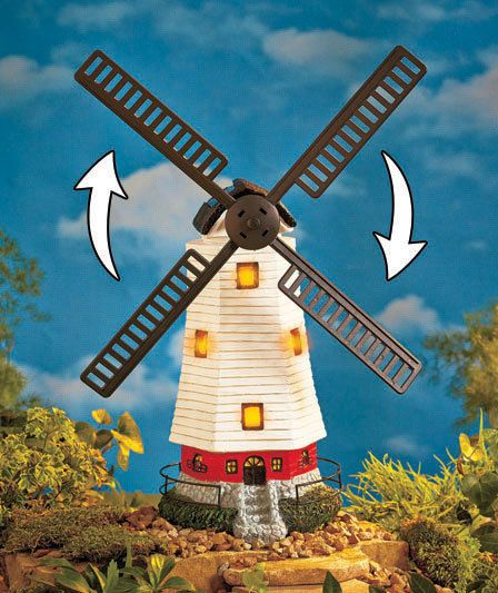 Solar Motion Windmill Light Statue Lawn Yard Outdoor