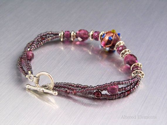 Purple Beaded Bracelet   Triple Strand Bracelet with Glass  Crystals and Seed Beads on Etsy   34 00