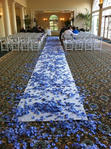 Periwinkle flower petals sprinkled up the isle...Love this idea