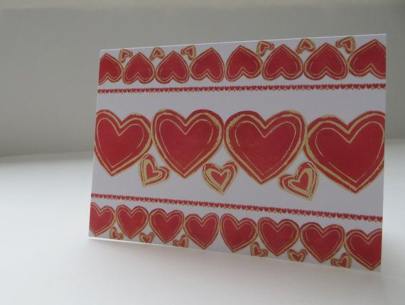 Rows of Hearts  4x5.5  Art Recycled Paper by LoveRockResidue, $3.50
