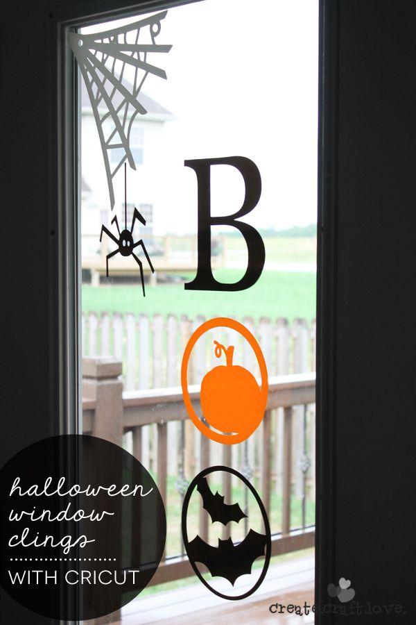 check out the new window cling material from cricut i made these halloween window clings - Halloween Window Clings