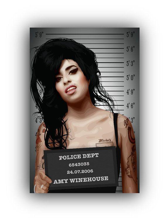 Amy Winehouse Prison Mugshot Illustration Art by MichaelJeanrenaud